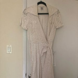 DVF Diane von Furstenberg white lace wrap dress 8